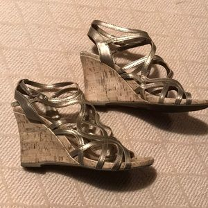 Strappy Golden Cork-Wedge Sandals